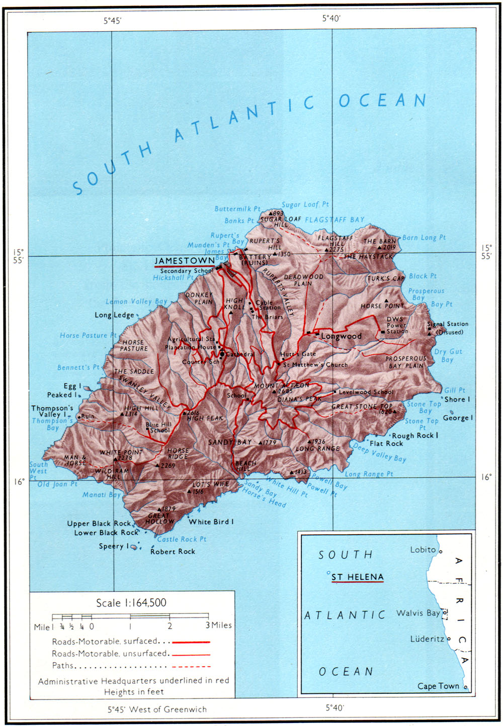 St Helena Stamps And Postal History - Saint helena map