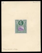 Saint Lucia Stamps: De La Rue Essays 1909-13, Large Format Composite Essay for proposed but unadopted bicoloured design