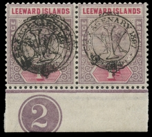 """Leeward Islands Stamps: The 1897 Sexagenary Issue, 1d. dull mauve and rose, mint horizontal pair, marginal from the foot of the sheet with Plate no. """"2"""", the left-hand stamp showing the only known example of variety overprint triple"""