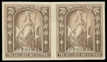 Malta Stamps: 1899-1901 2s.6d. imperforate colour trial in brown on watermarked paper mounted on card, a horizontal pair, both overprinted SPECIMEN