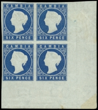Gambia 1874 Cameo Stamps, Imperforate Wmk Crown CC 6d. deep blue, mint block of four SG. 7