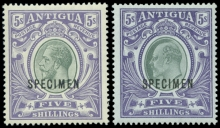 Antigua Large Seal 5 Shillings Specimen Stamps 1903-1919