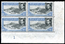 Ascension 1938 KGVI 6d. Stamps in corner Block of Four