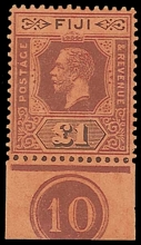Fiji £1 stamp purple and black on red Die II, a marginal example with 10 plate number