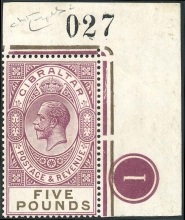 Gibraltar SG108 5 Pounds stamp with plate No. 1 and sheet No. 027