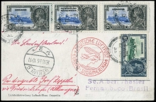 Gibraltar Zeppelin Mail 1935 - 14th South America Flight postcard to Pernambuco