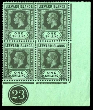 Leeward Islands stamps: 1s. (Die I) black on emerald, corner marginal block of four (Die I), with D I flaw