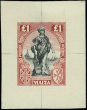 Malta 1922-26 Melita Issue: £1 die proof in issued colours, printed on medium hard surfaced paper