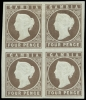 Gambia 1869 Imperforate No Watermark 4d. pale brown in a mint block of four