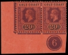 Gold Coast Stamps 1913 Watermark Mult. Crown CA 20s. purple and black on red, horizontal pair, lower left corner marginal with plate number 6